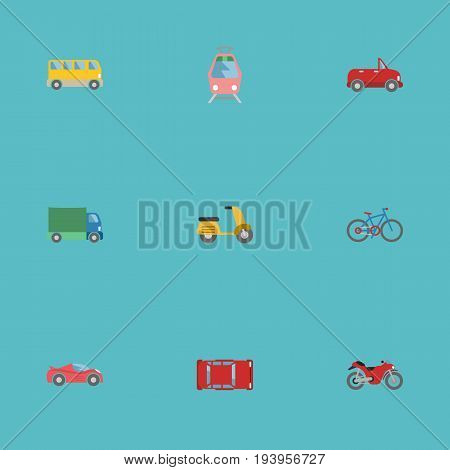 Flat Icons Motorbike, Streetcar, Bicycle And Other Vector Elements. Set Of Auto Flat Icons Symbols Also Includes Cabriolet, Bicycle, Lorry Objects.