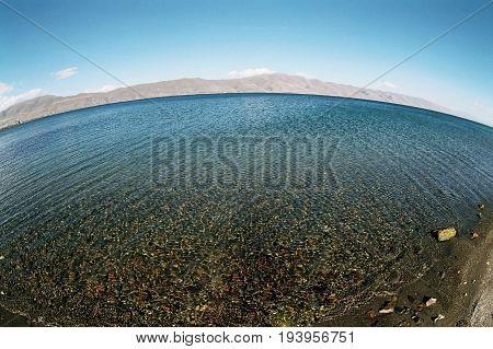 Beautiful high mountain lake Sevan in Armenia