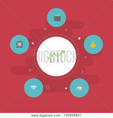 Flat Icons Teller Machine, Money Box, Bar Diagram And Other Vector Elements. Set Of Finance Flat Icons Symbols Also Includes Jewel, Strongbox, Secure Objects.