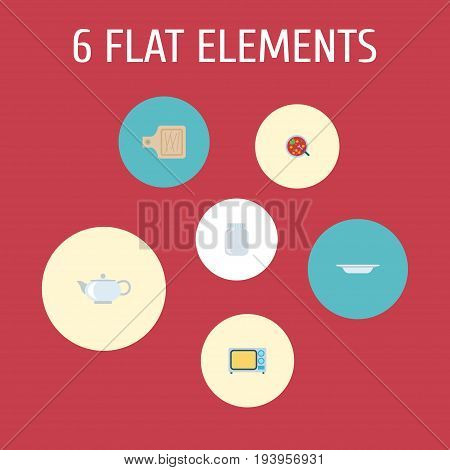 Flat Icons Glass Container, Breadboard, Electric Stove And Other Vector Elements. Set Of Cooking Flat Icons Symbols Also Includes Soup, Kitchen, Microwave Objects.