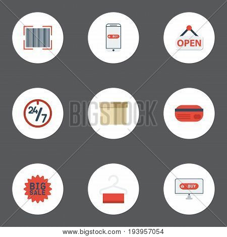 Flat Icons Case, Purchase, Support And Other Vector Elements. Set Of Magazine Flat Icons Symbols Also Includes Opening, Dress, Credit Objects.