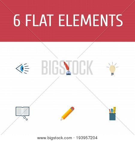Flat Icons Science, Case, Pen And Other Vector Elements. Set Of Constructive Flat Icons Symbols Also Includes Draw, Look, Concept Objects.