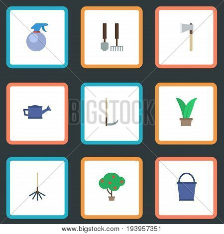 Flat Icons Tools, Bucket, Plant And Other Vector Elements. Set Of Horticulture Flat Icons Symbols Also Includes Cutter, Instruments, Fruit Objects.