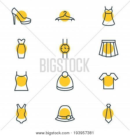 Vector Illustration Of 12 Clothes Icons. Editable Pack Of Pompom, Evening Dress, Sarafan And Other Elements.