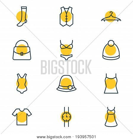 Vector Illustration Of 12 Dress Icons. Editable Pack Of Swimsuit, Hand Clock, Panama Elements.
