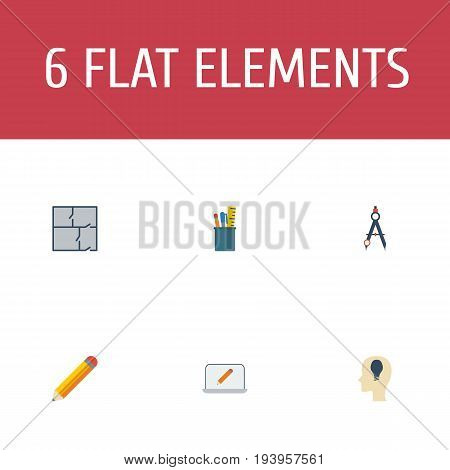 Flat Icons Compass, Case, Idea And Other Vector Elements. Set Of Creative Flat Icons Symbols Also Includes Monitor, Property, Dividers Objects.