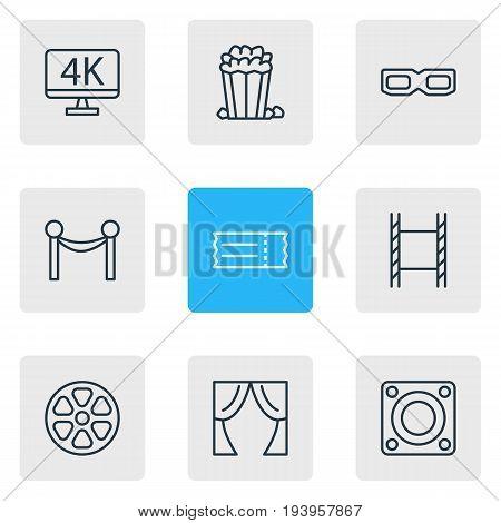 Vector Illustration Of 9 Cinema Icons. Editable Pack Of Cinema Fence, Loudspeaker, Filmstrip And Other Elements.