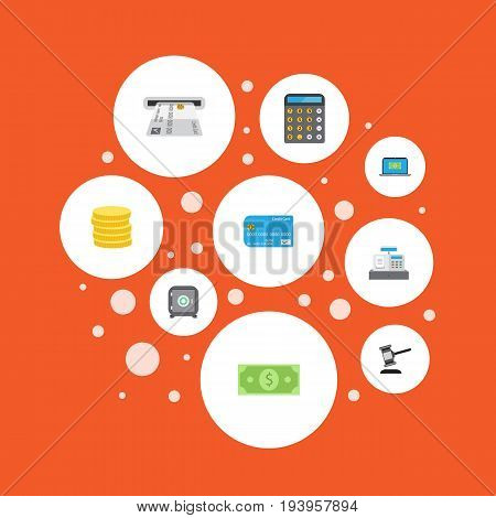 Flat Icons Computer, Accounting, Teller Machine And Other Vector Elements. Set Of Banking Flat Icons Symbols Also Includes Secure, Accounting, Coins Objects.