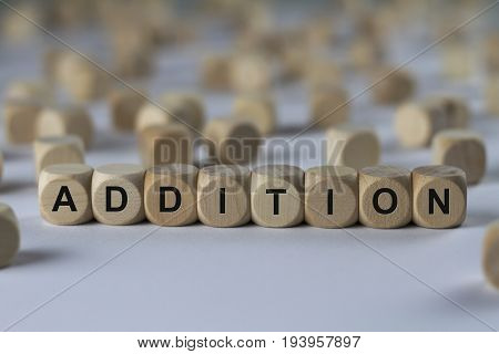 Addition - Cube With Letters, Sign With Wooden Cubes