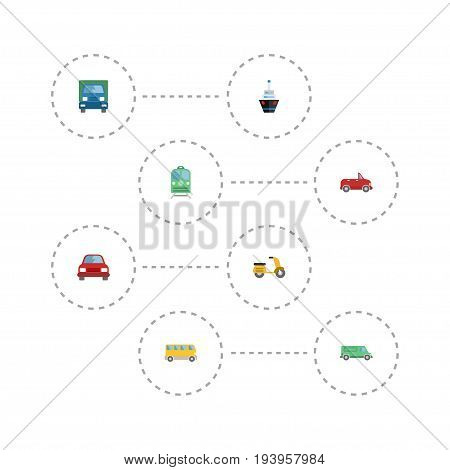 Flat Icons Transport, Carriage, Automobile And Other Vector Elements. Set Of Vehicle Flat Icons Symbols Also Includes Automobile, Carriage, Transport Objects.