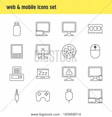 Vector Illustration Of 16 Laptop Icons. Editable Pack Of Pda, Flash Drive, Cooler And Other Elements.