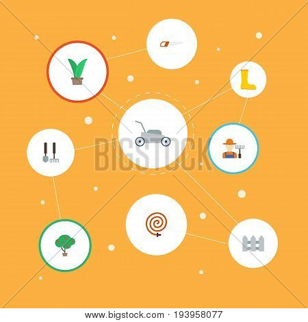 Flat Icons Garden Hose, Lawn Mower, Plant And Other Vector Elements. Set Of Horticulture Flat Icons Symbols Also Includes Lawnmower, Gardener, Fruit Objects.
