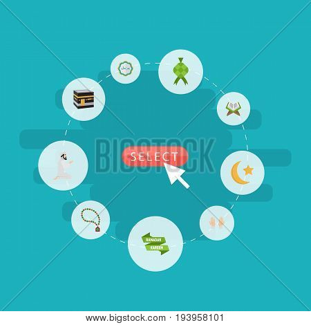 Flat Icons Decorative, Palm, Praying Man And Other Vector Elements. Set Of Religion Flat Icons Symbols Also Includes Book, Star, Kaaba Objects.