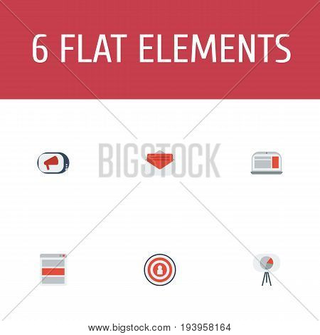 Flat Icons Statistic, Audience, Social Media Ads And Other Vector Elements. Set Of Advertising Flat Icons Symbols Also Includes Tripod, Message, Advertising Objects.