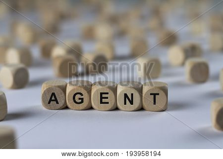 Agent - Cube With Letters, Sign With Wooden Cubes