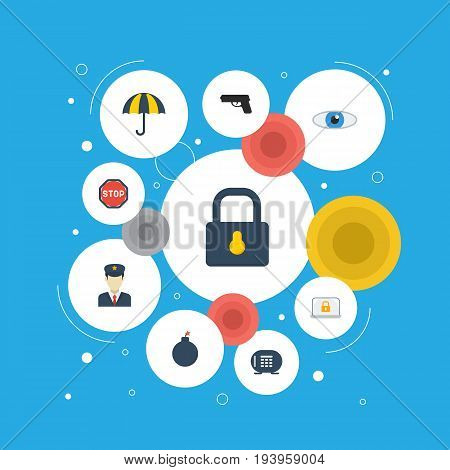 Flat Icons Vision, Lock, Safe And Other Vector Elements. Set Of Security Flat Icons Symbols Also Includes Lock, Look, Bomb Objects.