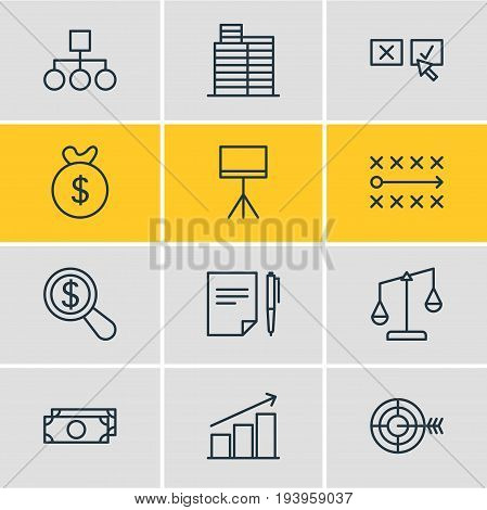 Vector Illustration Of 12 Business Icons. Editable Pack Of House, Scheme, Balance And Other Elements.
