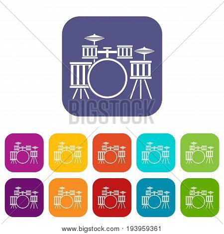 Drum kit icons set vector illustration in flat style In colors red, blue, green and other