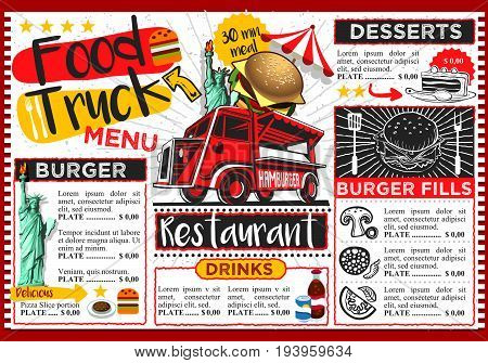 Food truck festival vector menu template design