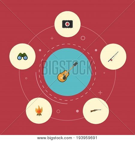 Flat Icons Fist Aid, Fire, Weapon And Other Vector Elements. Set Of Encampment Flat Icons Symbols Also Includes Medicine, Glass, Fishing Objects.