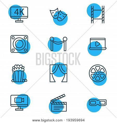 Vector Illustration Of 12 Cinema Icons. Editable Pack Of Cinema Fence, Loudspeaker, Tragedy And Other Elements.