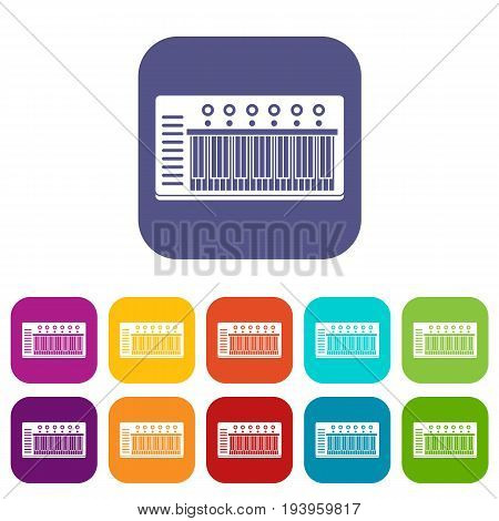 Electronic synth icons set vector illustration in flat style In colors red, blue, green and other