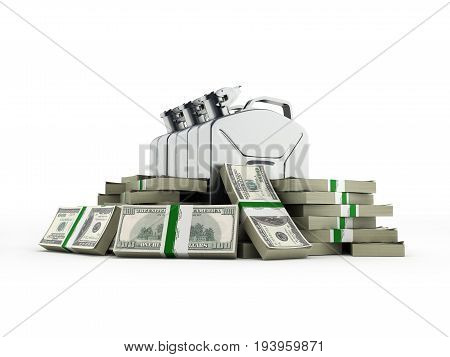 Gas Canisters Surrounded By 100 Dollar Bankrolls Concept Of Gasoline Prices Gas Canister In Pile Of