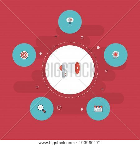Flat Icons Audience, Market, Megaphone And Other Vector Elements. Set Of Advertising Flat Icons Symbols Also Includes Award, Awareness, Dartboard Objects.