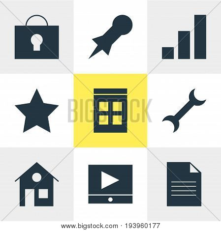 Vector Illustration Of 9 Web Icons. Editable Pack Of Keyhole, Bookmark, House And Other Elements.
