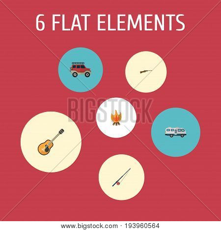 Flat Icons Fishing, Music, Fire And Other Vector Elements. Set Of Encampment Flat Icons Symbols Also Includes Car, Caravan, Rifle Objects.