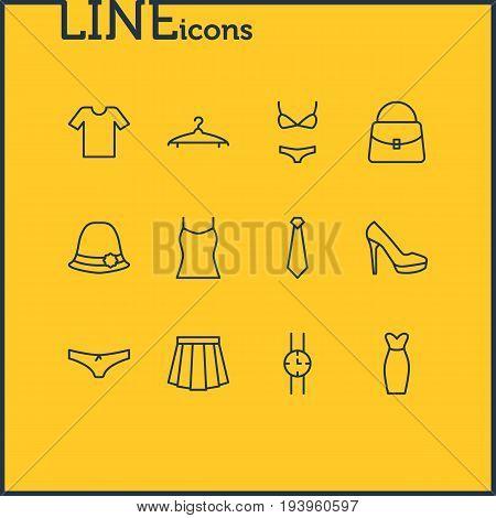 Vector Illustration Of 12 Clothes Icons. Editable Pack Of Handbag, Sarafan, Cravat Elements.