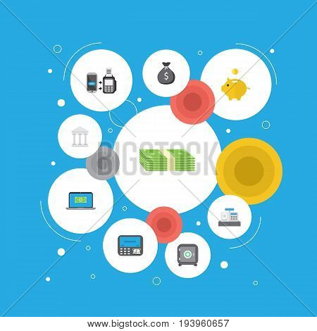Flat Icons Cash Stack, Computer, Finance Sack And Other Vector Elements. Set Of Finance Flat Icons Symbols Also Includes Online, Courthouse, Savings Objects.