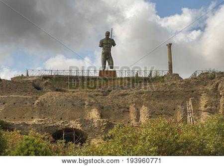 ancient Pompeii ruins, UNESCO World Heritage Site, Campania region, Italy. Pompeii city destroyed in 79BC by the eruption of Mount Vesuvius