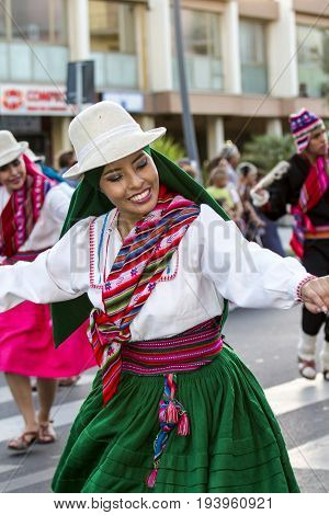 QUARTU S.E., ITALY - JULY 15 2016: 30 Sciampitta - International folklore festival, Sardinia - portrait of a beautiful woman of Folkloristic Ballet at the University of La Paz (Bolivia)