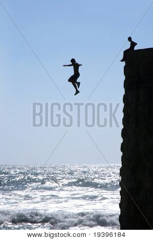 Jump in the sea from a rock
