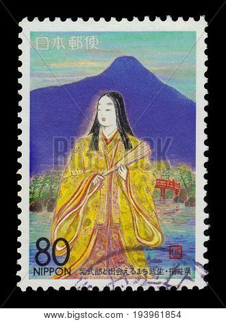 JAPAN - CIRCA 1996: A stamp printed in Japan shows Murasaki Shikibu, japanese novelist, poet during the Heian period  in Takefu, Fukui Prefecture, circa 1996