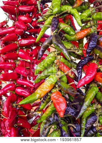 Close up view at the cayenne pepper