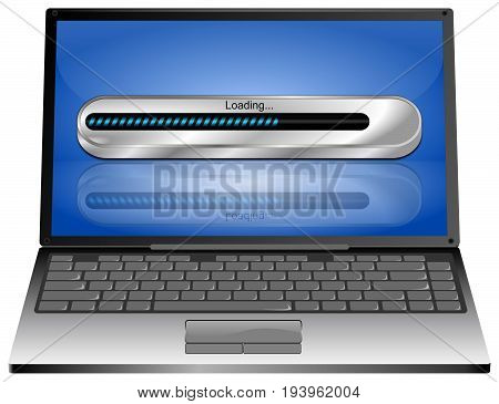 Laptop computer with blue Loading bar - 3D illustration