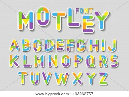 Concept of vector holiday alphabet. Colorful 3d letters with white outline and geometric fill.