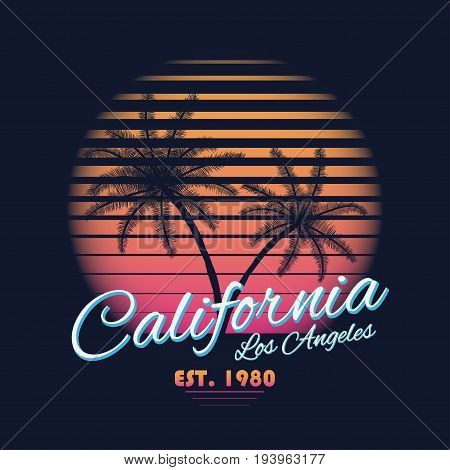 80s style vintage California typography. Retro t-shirt graphics with tropical paradise scene and tropic palms. Vector