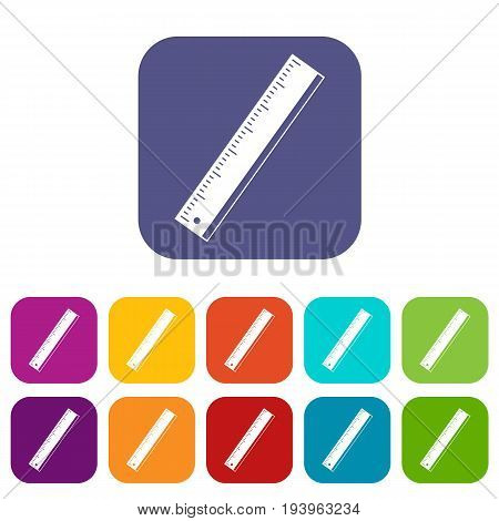 Yardstick icons set vector illustration in flat style In colors red, blue, green and other