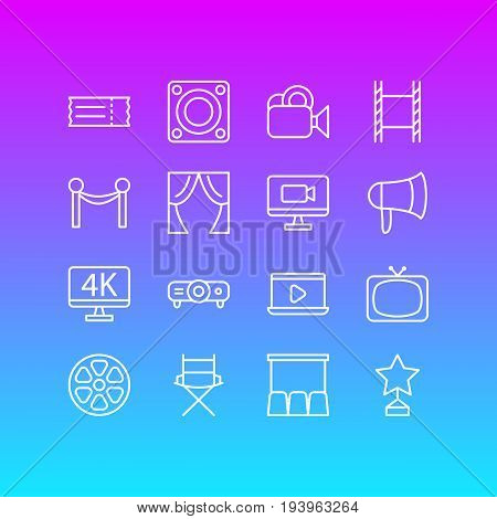 Vector Illustration Of 16 Movie Icons. Editable Pack Of Movie Reel, Cinema Fence, Slideshow And Other Elements.