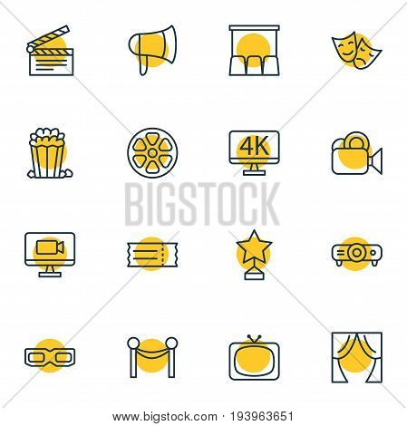 Vector Illustration Of 16 Film Icons. Editable Pack Of Camera, Cinema Fence, Megaphone And Other Elements.