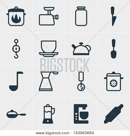 Vector Illustration Of 16 Restaurant Icons. Editable Pack Of Teakettle, Mincer, Pan And Other Elements.