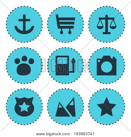 Vector Illustration Of 9 Check-In Icons. Editable Pack Of Shopping Cart, Landscape, Scales Elements.