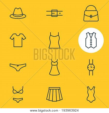 Vector Illustration Of 12 Garment Icons. Editable Pack Of Strap, Swimsuit, Waistcoat And Other Elements.