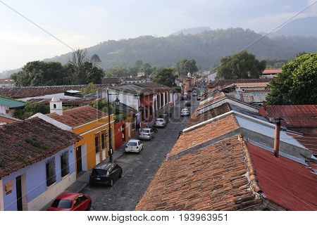 ANTIGUA , GUATEMALA -Street view of Antigua Guatemala on May 2015. The historic city Antigua is UNESCO World Heritage Site since.