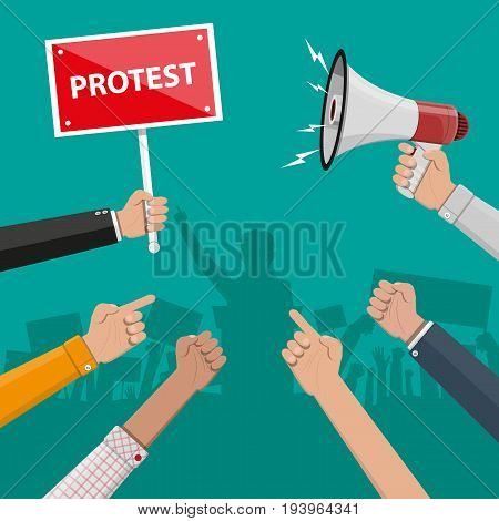 Cartoon hands of demonstrants and hand with megaphone, protest concept, revolution, conflict. Vector illustration in flat style