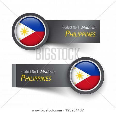 Flag icon and label with text made in Philippines .
