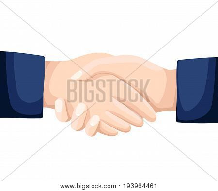 Shaking Hands Business Vector Illustration With Abstract Rays, Symbol Of Success Deal, Happy Partner
